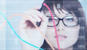 woman draws a forex chart