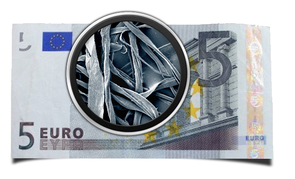 5 euro banknote magnified to see fibre