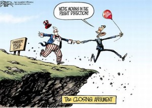 USA government shutdown cartoon obama jumps off the fiscal cliff taking the americas economy with him