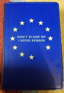 Brexit joke Remainian passport sleeve Don't blame me I voted remain