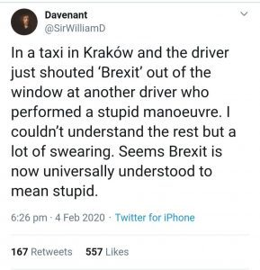 Brexit joke about a taxi driver brexit as a word for something stupid