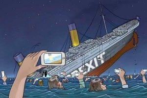 Brexit joke ship as titanic drowning people filming with their phones in water