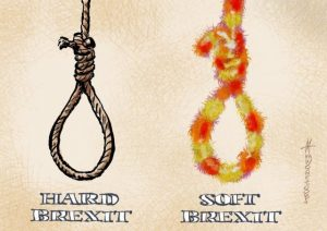 Brexit joke hard brexit and soft brexit as hanging ropes