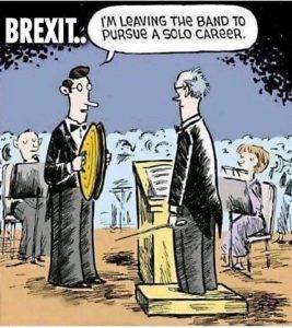 Brexit cartoon - a percussionist saying - i am leaving the band to pursue a solo career