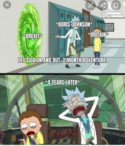 Brexit meme rick and morty jumping in the portal