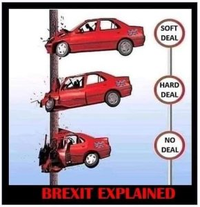 Brexit meme red car crashing in pole soft deal hard deal no deal