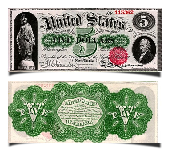 Old US dollar banknote called greenback