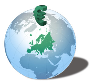 Euro symbol single currency on a globe