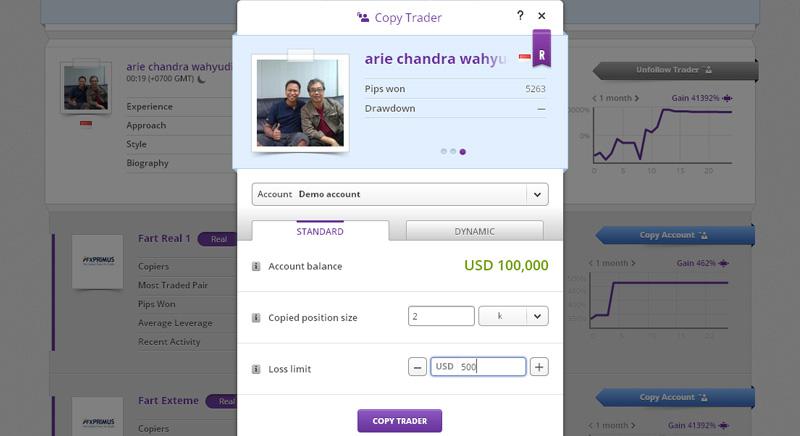 tradeo copy trader screenshot