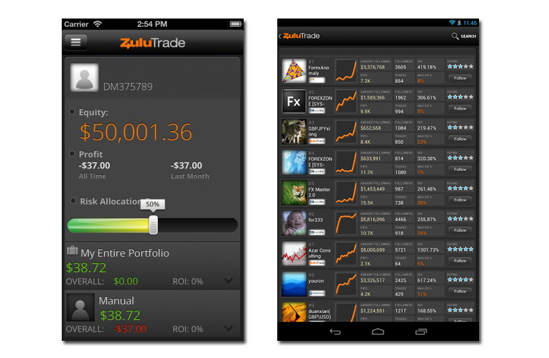 zulutrade social iphone android