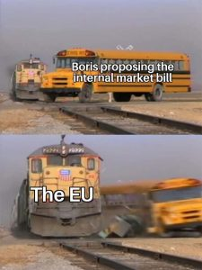 Brexit meme Parking the bus Tory style in front of train