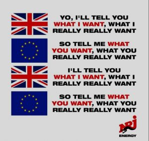 Brexit joke spice girls song tell me what you want
