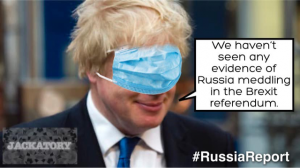 Brexit meme boris johnson with a mask over his eyes we havent seen no evidence of russia meddling in brexit