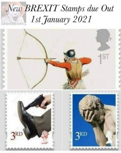 brexit stamps funny archer shoots himself person shoots in his leg and guy palms his face