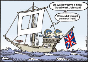 Brexit caricature boris johnson ship flag cloth hole in sail