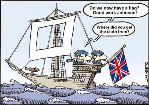 Brexit caricature boris johnson ship flag cloth hole in sail