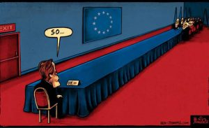 Brexit cartoon UK-EU trade talks continue long table