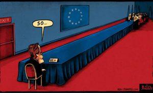 Brexit cartoon UK-EU trade talks continue long table