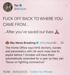 The home office says NHS doctors nurses and paremidcs with UK work visas due to expire will have them extended so they can save our lives and then get expelled from the united kingdom