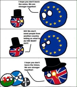 Brexit joke EU and UK balls talking to ireland i hope you dont leave the union