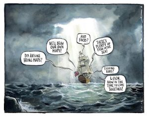 Brexit cartoon lone ship in the sea did anyone bring maps and food or fishing rods