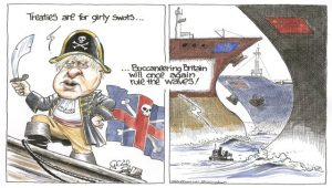 Brexit cartoon Bori johnson as the captain pirate of a small ship saying that treaties are for girly swots