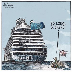 Brexiteers on a raft saying so long suckers