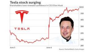 tesla stock price goes up elon musk
